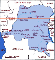 Karte der Demokratischen Republik Kongo