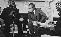 Präsident Nixon und Präsident Mobutu 1973 im Oval Office
