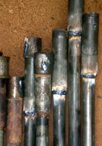 Rohrverlängerungen des Bohrgestänges mit aufgeschweißten Muffen